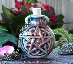 Old European Master Crafted Magical Arts™ Wicca, Pagan, Magical Jewelry, Bottle Necklace, Oil Bottle, Pentacle, Ceramic Beads, Alchemy, Meditation