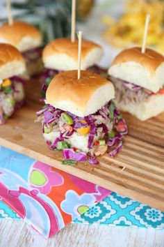 Kalua Pork Sliders with Pineapple-Mango Slaw by Our Best Bites
