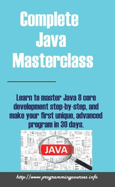 Learn to master Java 8 core development step-by-step, and make your first unique, advanced program in 30 days.