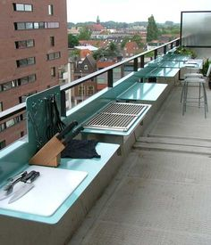 Make The Most Of Your Small Balcony – Top 15 Accessories Balcony kitchen --  Long and narrow balconies are a big inconvenient because you can't do much with them given this shape. However, with a little bit of ingenuity you can transform such a balcony into a cooking area, a barbeque area or anything else you want.