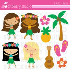 Hula Girls Personal and Commercial Use Clipart by stockberrystudio, $5.00