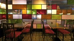 Restaurant Decor with Colored Glass Windows