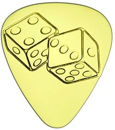 """Unique & Custom [0.38mm Thin Gauge - Traditional Style Semi Tip] Hard Luxury Guitar Pick Made of Genuine Solid Brass w/ Chance Luck Card Games Dice Design """"Gold Yellow Colored"""" {Single Pick} mySimple Products"""