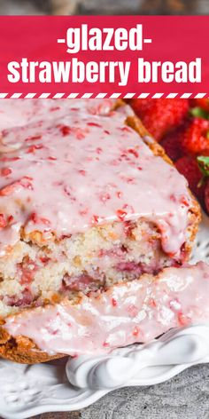 Glazed Strawberry Bread Have fresh garden strawberries? Try this fresh strawberry bread with melt-in-your-mouth strawberry glaze. This quick bread recipe comes together in just 10 minutes. With fresh or frozen cherries Köstliche Desserts, Delicious Desserts, Yummy Food, Frozen Desserts, Quick Bread Recipes, Baking Recipes, Sweet Recipes, Easy Recipes, Easy Meals