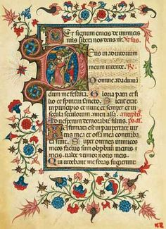 historiated initial - Master of Modena Book of Hours, fine art facsimile edition. Lombard illuminated manuscript on parchment, 1390 Medieval Books, Medieval Manuscript, Medieval Art, Renaissance Art, Illuminated Letters, Illuminated Manuscript, Unique Drawings, Art Drawings, Illumination Art