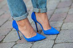 Zara BNWT Blue Leather High Heel Vamp Shoe All Sizes 2013 Ref 1196 201   eBay