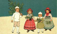 Vintage children at Christmas