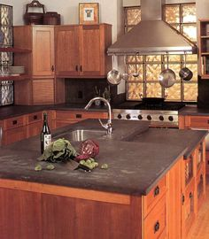 Honed Slate Kitchen Countertop With Shaker Style Cherry Cabinets   By  Stoneshop I Want Slate Countertops!