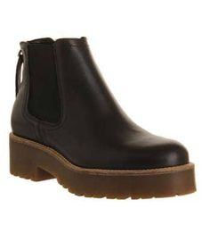 Office, Codey Tread Sole Zip boots, Black Leather