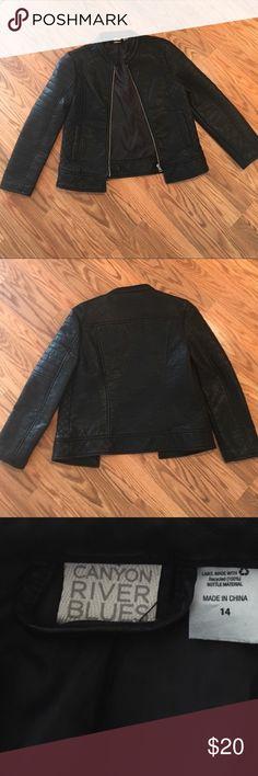 Girls black faux leather jacket NWOT girls faux leather black jacket,super cute,girls medium super cute canyon River Blue Jackets & Coats