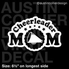 """6.5"""" CHEERLEADER MOM vinyl decal car window laptop sticker - cheer squad gift #AustinCollierOriginalDesign"""