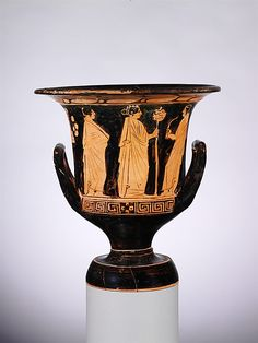 Terracotta calyx-krater (bowl for mixing wine and water) Period: Classical Date: early 4th century B.C. Culture: Greek, Attic