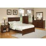 POUNDEX Furniture - Medium Brown Finish Ribbon California King Bed - 47F9180CK