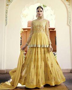 Yellow Lehenga Style Anarkali Suit - Designer Floor Length Anarkali Suit, and much more… Long Anarkali, Anarkali Dress, Anarkali Suits, Pakistani Dresses, Lehenga Choli, Indian Dresses, Indian Outfits, Indian Clothes, Lehenga Suit
