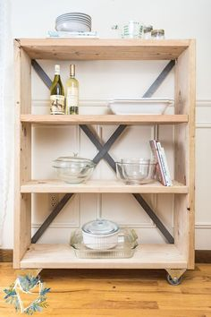DIY Industrial Farmhouse Pantry Shelf. This is the easiest shelf to make and adds so storage much to my kitchen.
