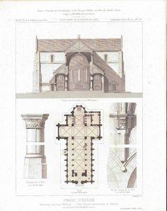 Architectural Church Plan Altar Design with Columns 1883 Architecture Print