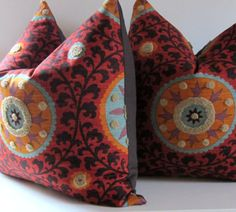 Set of Two  Suzani Pillows  20 inch  Decorative by studiotullia, $110.00, Etsy Store