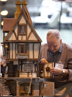 A miniature doll house on show at the Miniatura exhibition and trade show at the NEC in Bi...