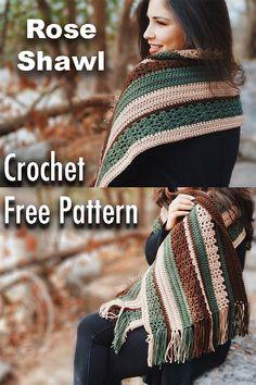 Free crochet pattern, beautiful and easy shawl! Crochet Prayer Shawls, Crochet Shawls And Wraps, Knitted Shawls, Crochet Scarves, Crochet Clothes, Beau Crochet, Pull Crochet, Free Crochet, Knit Crochet