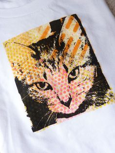 Silk Screen T shirt  Calico Kitty by glassetc on Etsy, $18.99
