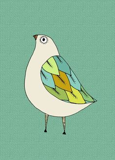 Cute Little Bird Art Print  5 x 7  colorful by courtneyoquist, $7.00