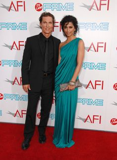 This is where I thought she was really pretty, love her hair and he looked good, Matthew McConaughey & Camila Alves