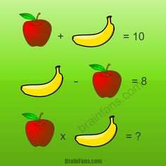 Solve this math puzzle with apples and bananas. You can also write the equations on a paper if you prefer. How much time do you need to solve this puzzle? Please like below:)