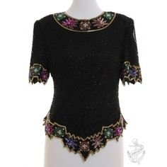 Vintage Clothing | Evening Top Black With Full Lining - I love sequins and the irregular hems!