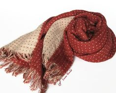 LINEN Scarf  Terracotta Red & White dotted linen by LinenWorld