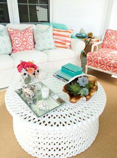 Colorful beach porch decor. Living room outdoors!