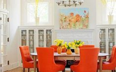 Plush Orange Dining Room Chairs