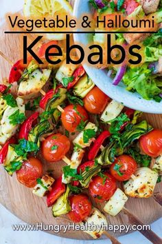 No BBQ or summer party should be complete without some kind of halloumi recipe and these Vegetable and Halloumi Kebabs are our favourite way to serve them. Coated in a flavour bursting Greek marinade, they can be prepared in advance and will…Read Healthy Summer Recipes, Lunch Recipes, Cooking Recipes, Vegetarian Curry, Vegetarian Lunch, Vegetarian Bbq Skewers, Vegetarian Grilling, Healthy Grilling, Healthy Vegetarian Recipes