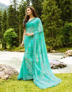 #Turquoise Georgette #Printed #Traditional #Saree #nikvik  #usa #designer #australia #canada #freeshipping #sari #print