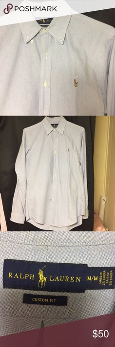 EUC DRYCLEANED Polo Ralph Lauren blue button down Just dry cleaned AUTHENTIC polo Ralph Lauren button down. Size medium! In excellent condition. Only worn twice. No flaws at all. Too small for my boyfriend now! Hasn't been worn in over a year! Such a nice shirt! Price negotiable. Polo by Ralph Lauren Shirts Dress Shirts