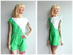 A personal favorite from my Etsy shop https://www.etsy.com/listing/505504224/1980s-romper-two-tone-cotton-romper