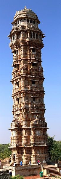 Tower of Victory, Chittorgarh, Rajasthan, India  - Explore the World with Travel Nerd Nici, one Country at a Time. travelnerdnici.com/