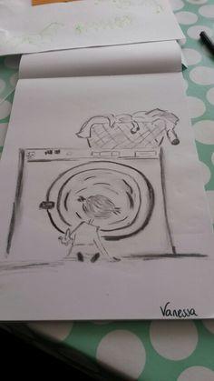 #watdoetvanessanu tekenen houtskool draw wasjes draaien