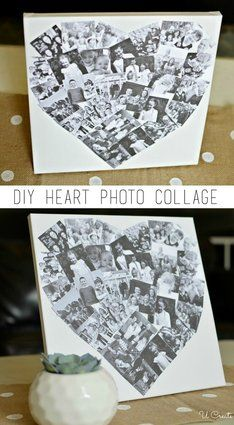 DIY Heart Photo Collage is part of Canvas crafts For Grandparents Today I want to share a priceless photo gift idea for that hardtobuyfor person that seems to have everything! Photo Swag, Photo Collage Gift, Photo Collages, Photo Collage On Canvas, Collage Collage, Elephant Bleu, Diy For Kids, Crafts For Kids, Easter Crafts For Adults