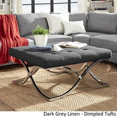 Solene X Base Square Ottoman Coffee Table - Chrome by iNSPIRE Q Bold ([Dark Grey Linen]- Dimpled Tufts), Size Large (Fabric)