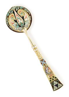 A Russian gilded silver and cloisonné enamel spoon, Fedor Rückert, Moscow, 1899-1908