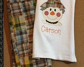 Boys Appliqued Shirt and Patchwork Pants Scarecrow Applique Thanksgiving Fall Monogram. $52.00, via Etsy.