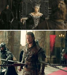 Snow White & the Hunstman (2012) Starring: Charlize Theron as the Queen Ravenna, The Evil Queen and Chris Hemsworth as Eric, the Huntsman. Eric the Huntsman, who is known to have survived the Dark Forest, is brought to Ravenna, who orders him to lead her brother Finn in pursuit of Snow White. He belligerently refuses because he doesn't think he'd survive in the dark forest again. She then threatens to kill him and finally persuades him by promising to revive his deceased wife, Sarah.