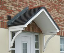 Door canopy from UK. Very simple construction? Door Canopy Porch, Porch Awning, Pergola Canopy, Front Door Overhang, Front Door Porch, House Front, Back Door Entrance, Back Doors, Porch With Pergola