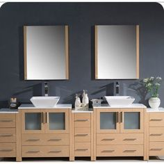 Torino Collection FVN62-96LO-VSL 96 Modern Double Sink Bathroom Vanity with 3 Side Cabinets 2 Vessel Sinks and 13 Soft Closing Drawers in Light Oak