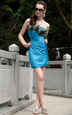 Fashion Blue Dress Silk Short Evening Dress Evening Dress Cocktail and Party Feather Dress,<3!