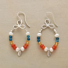 """THREE PETAL EARRINGS--It's a garden of color in these pearl and silver dangle earrings, where citrine, carnelian, pearl, sterling silver and dyed jade droop from three sterling """"petals."""" Sterling silver wires. USA. Exclusive. 1-7/8""""L."""