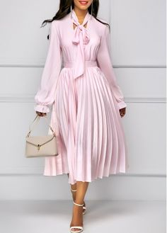 Long Sleeve Tie Neck Top and Pleated Skirt | modlily.com - USD $40.26