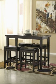e6d9a83cf1df Ashley Kimonte 5 Pc. RECT Dining Room Counter Table & 4 UPH Barstools