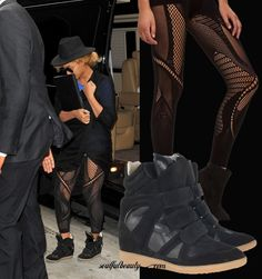 Beyonce shows legs in Alexander McQueen stockings and Isabel Marant wedge sneakers.