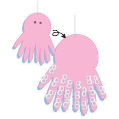 Summer Craft: octopus - could use two cut-out handprints and let kiddos glue cheerios on back and for eyes